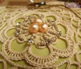 Wedding Ring Bearer Pillow Unique Antique Lace~Shabby~Pastel Green