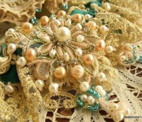 Bridal Garter- Wedding Garter Toss Heirloom set Silk Bead Rhinestone Pearls turquoise BLUE--o.o.a.k