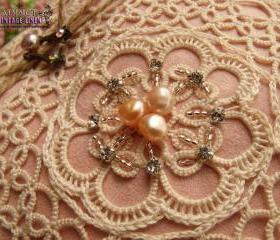 Wedding Ring Bearer Pillow Unique Antique Ecru Lace~Shabby~Romantic~Pale PINK
